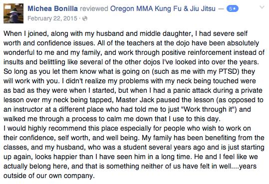 medford oregon kung fu review Michaea Bonilla